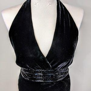 Velvet Beaded Bias Cut Halter Dress